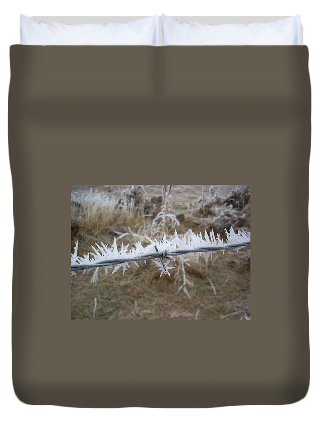 Fence Duvet Cover featuring the photograph Barb Wire by Sara Stevenson