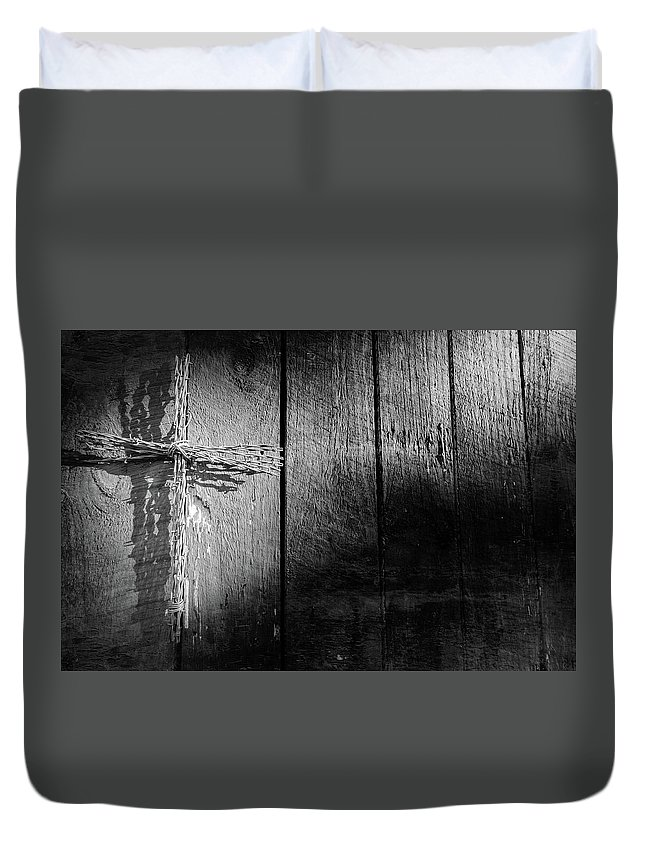 Architecture Duvet Cover featuring the photograph Barbed Wire Cross by Jim Love