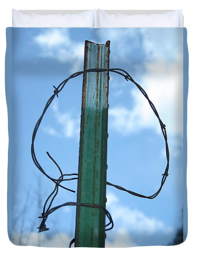 Barbed Wire Duvet Cover featuring the photograph Barbed Wire Sky by Ric Bascobert