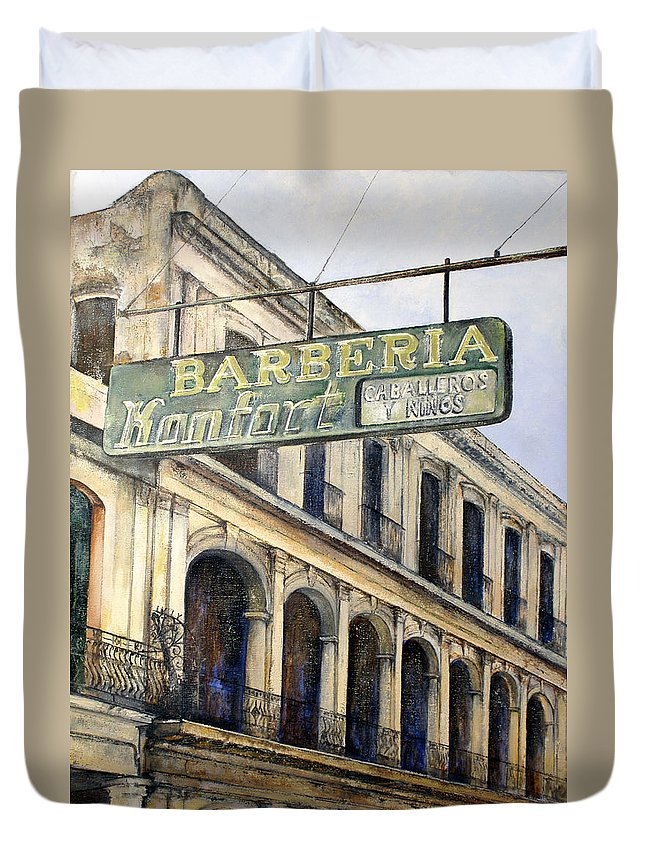 Konfort Barberia Old Havana Cuba Oil Painting Art Urban Cityscape Duvet Cover featuring the painting Barberia Konfort by Tomas Castano