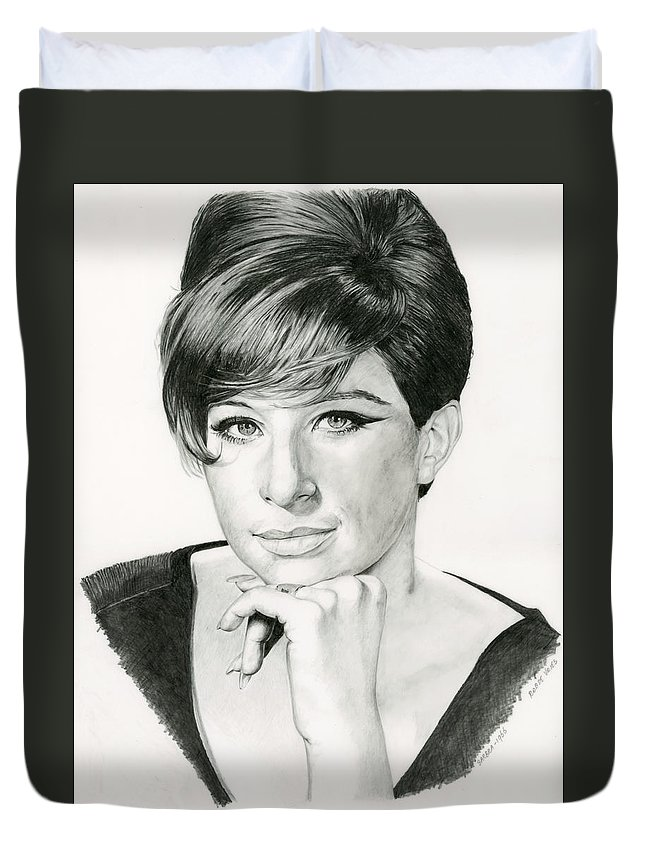 Barbra Duvet Cover featuring the drawing Barbra by Rob De Vries