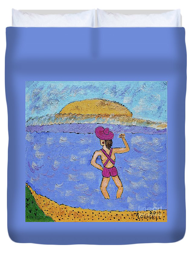 Barb Duvet Cover featuring the painting Barb's Beach Waving by Robyn Louisell