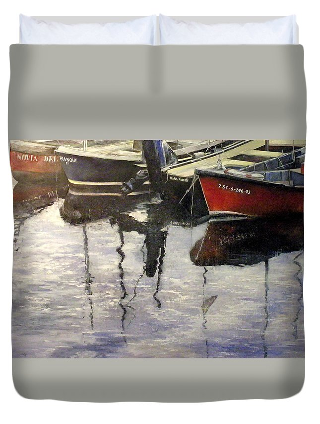 Arte Duvet Cover featuring the painting Barcas en puertochico-Santander by Tomas Castano