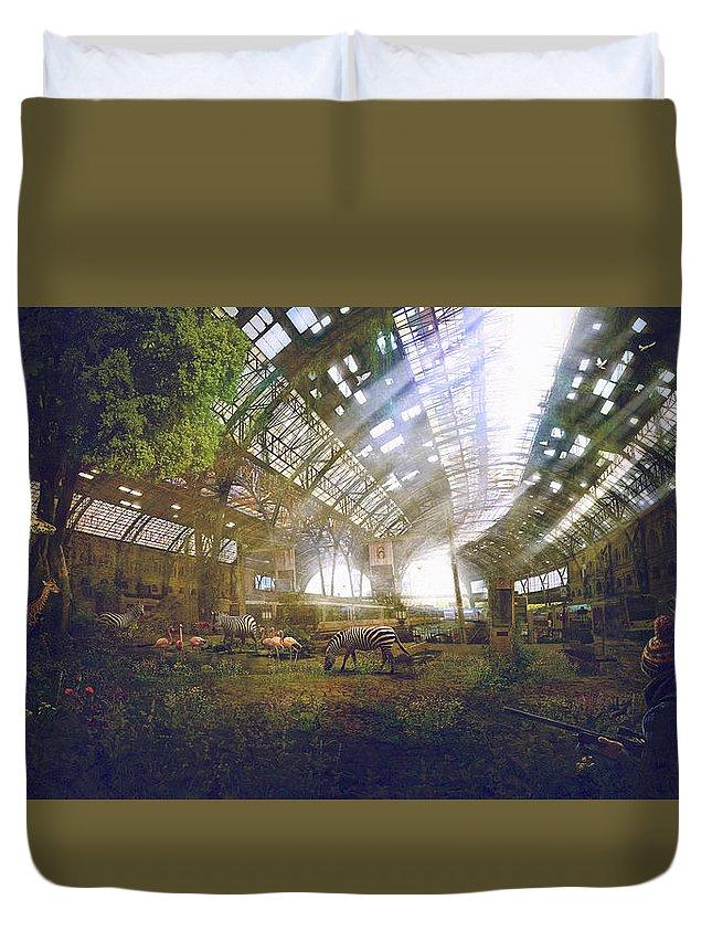 Sciencie Fiction Duvet Cover featuring the painting Barcelona Aftermath Estacio De Franca by Guillem H Pongiluppi
