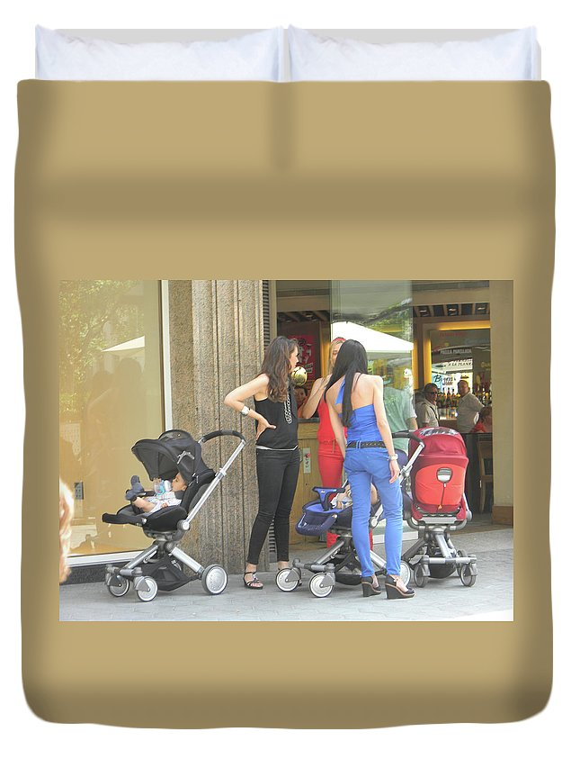 Marwan Khoury Duvet Cover featuring the photograph Barcelona Moms by Marwan George Khoury