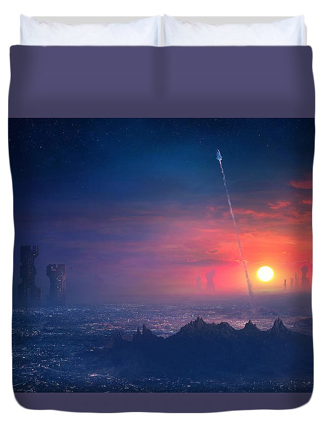 Scifi Duvet Cover featuring the painting Barcelona Smoke And Neons Montserrat by Guillem H Pongiluppi