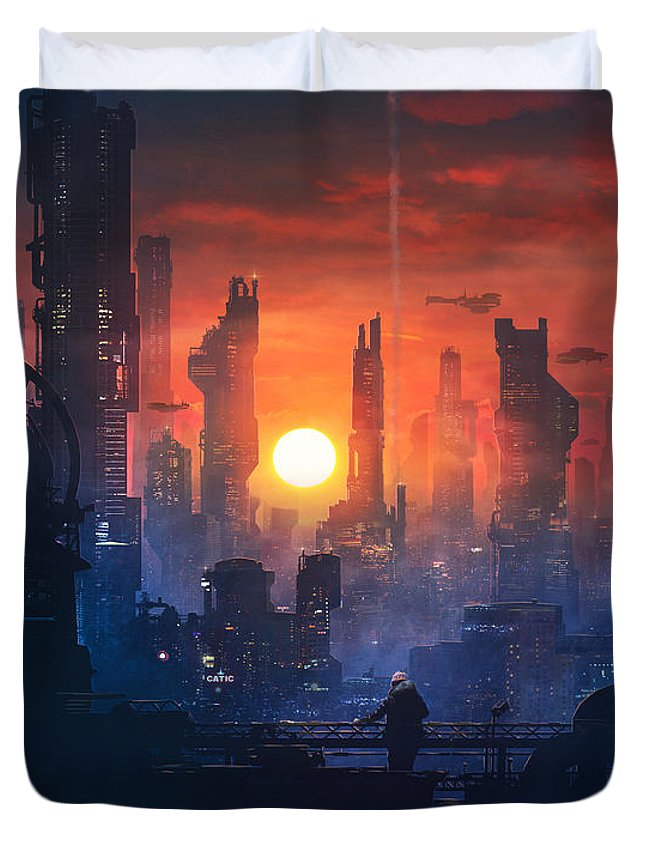 Scifi Duvet Cover featuring the painting Barcelona Smoke And Neons The End by Guillem H Pongiluppi
