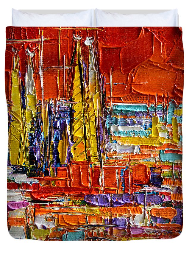 Barcelona View From Parc Guell Duvet Cover featuring the painting Barcelona Sagrada Familia View From Parc Guell Abstract Palette Knife Oil Painting by Mona Edulesco