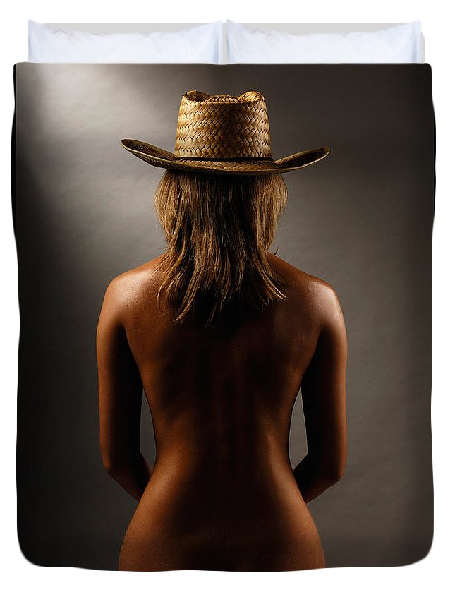 Woman Duvet Cover featuring the photograph Bare Back Of A Woman In A Straw Hat by Oleksiy Maksymenko