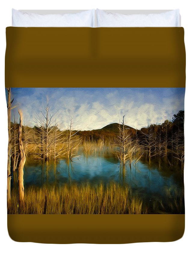 sardis Lake Duvet Cover featuring the photograph Bare Waters by Lana Trussell