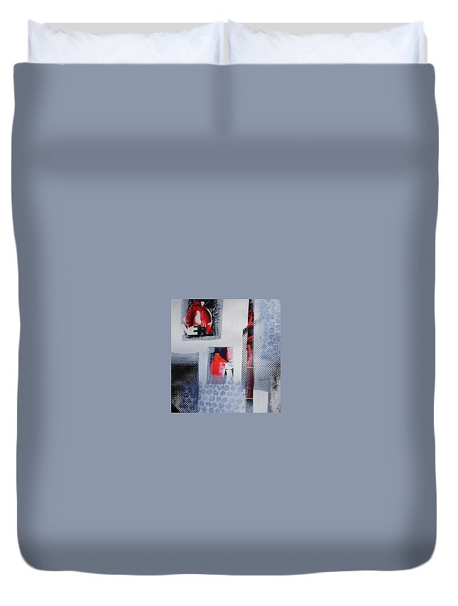 Red Duvet Cover featuring the painting Barely There by Maria Fowler
