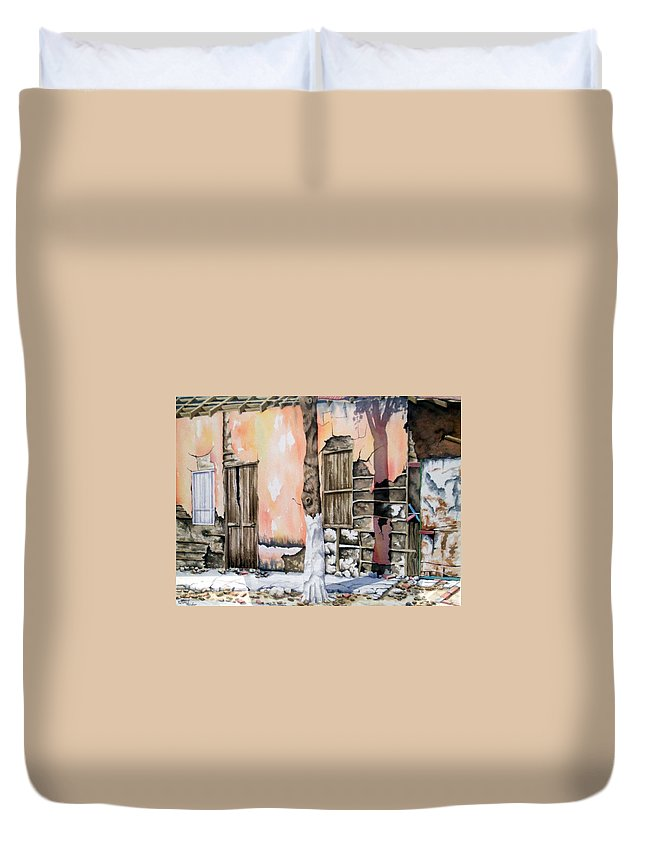 Lanscape Duvet Cover featuring the painting Bareque II by Tatiana Escobar