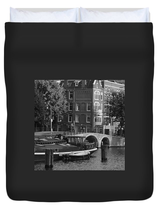 Amsterdam Duvet Cover featuring the photograph Barges By The Bridge by Cheryl Miller