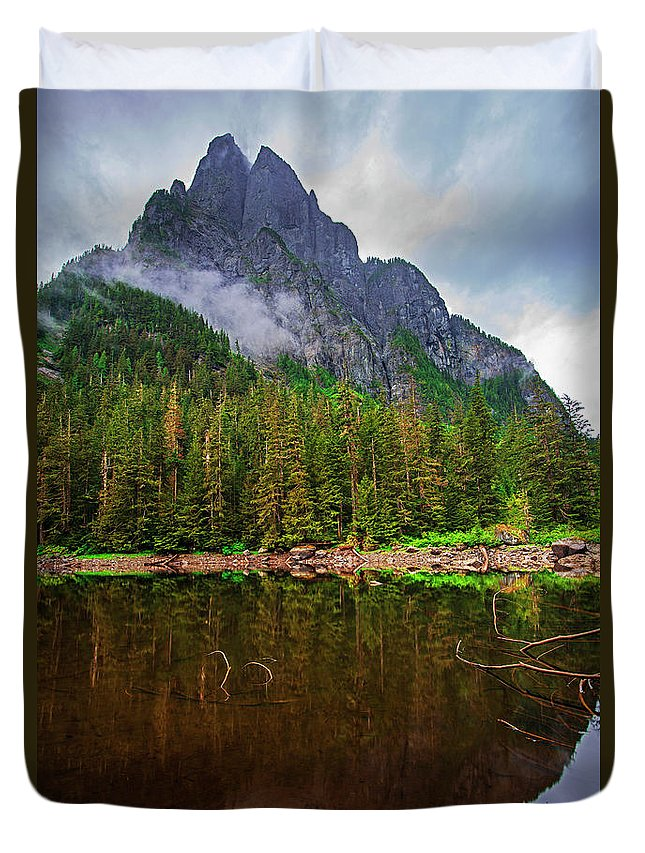 Baring Mountain Duvet Cover featuring the photograph Baring Mountain From Barclay Lake - Washington State by Yefim Bam