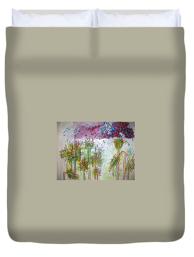 Barly Paintings Duvet Cover featuring the painting Barly And The Blue Moon by Seon-Jeong Kim