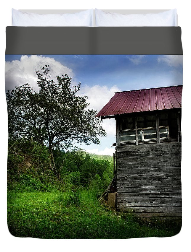 Barn Duvet Cover featuring the photograph Barn After Rain by Greg Mimbs