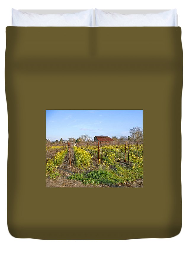 Mustard Duvet Cover featuring the photograph Barn Among The Wild Mustard by Tom Reynen
