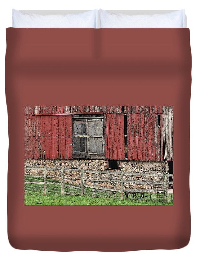Sheep Duvet Cover featuring the photograph Barn And Sheep by G Berry