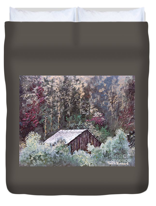 Landscape Duvet Cover featuring the painting Barn At Cades Cove by Todd Blanchard