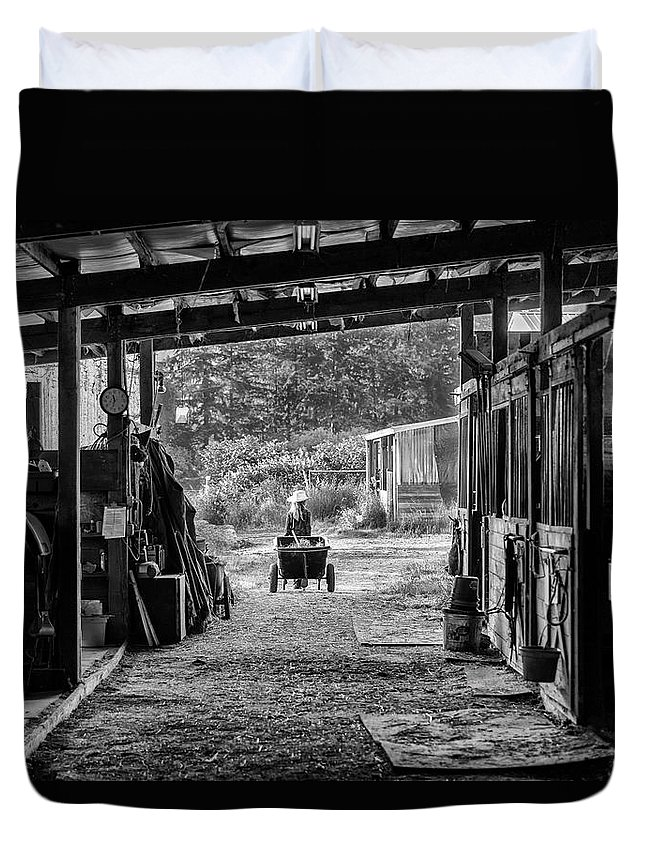 Barns Duvet Cover featuring the photograph Barn Chores by Steven Clark