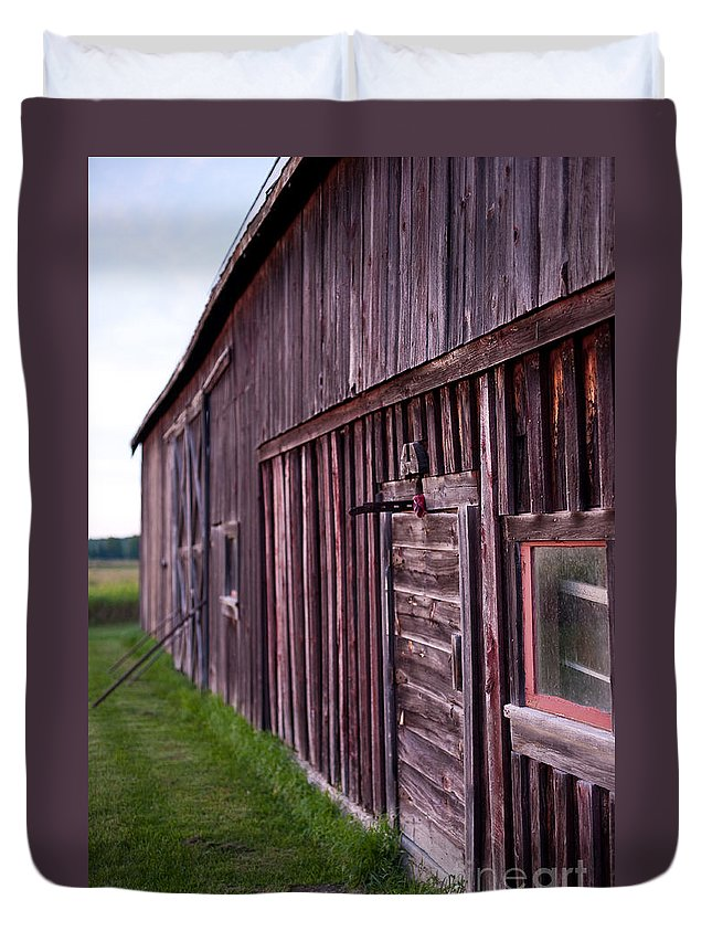 Rustic Duvet Cover featuring the photograph Barn Door Small by Steven Dunn