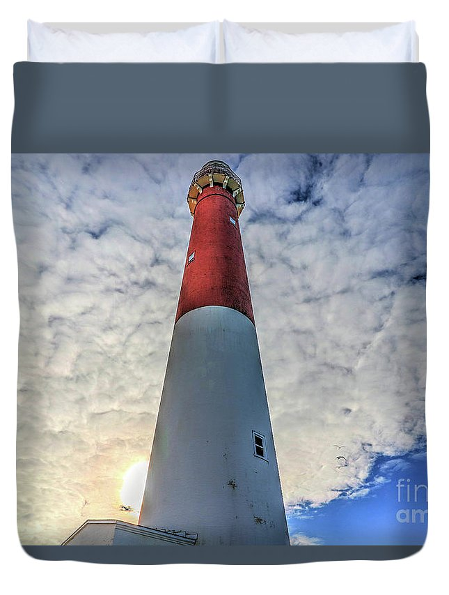 Lighthouses Duvet Cover featuring the photograph Barnegat Lighthouse In The Clouds by Frank Nicolato