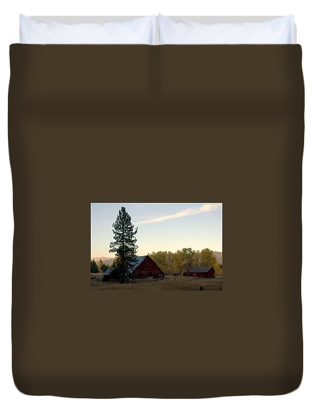Duvet Cover featuring the pyrography Barns by Dave Lund