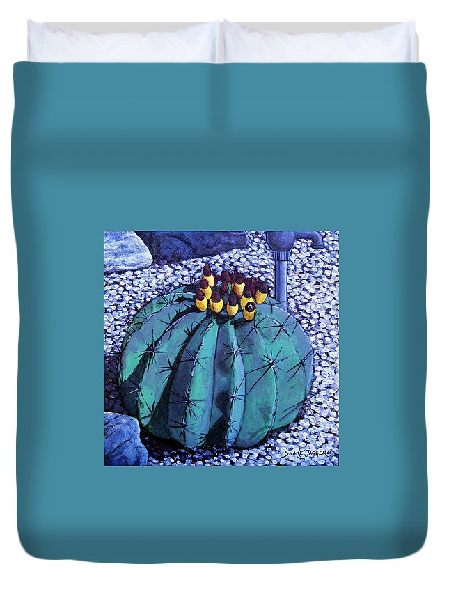 Nature Duvet Cover featuring the painting Barrel Buds by Snake Jagger