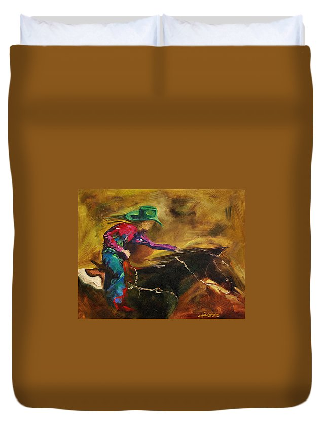 Western Art Duvet Cover featuring the painting Barrel Racer by Diane Whitehead