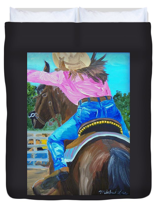 Barrell Racer Duvet Cover featuring the painting Barrel Rider by Michael Lee
