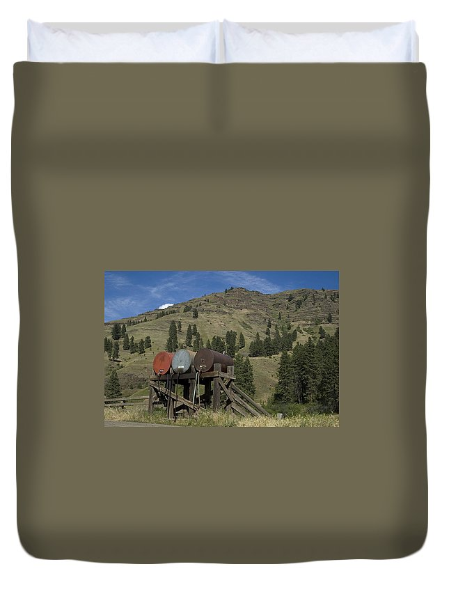 Fuel Tank Duvet Cover featuring the photograph Barrels by Sara Stevenson