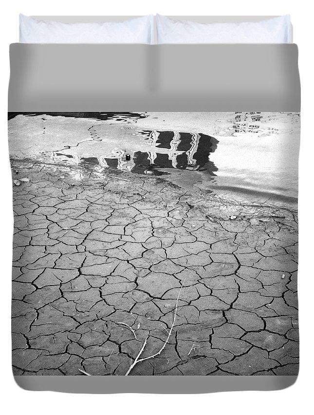 Barren Land With Cracks Duvet Cover featuring the photograph Barren Dry Land by Vineta Marinovic