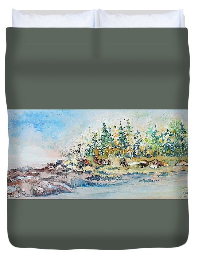 Landscape Duvet Cover featuring the painting Barrier Bay by Joanne Smoley