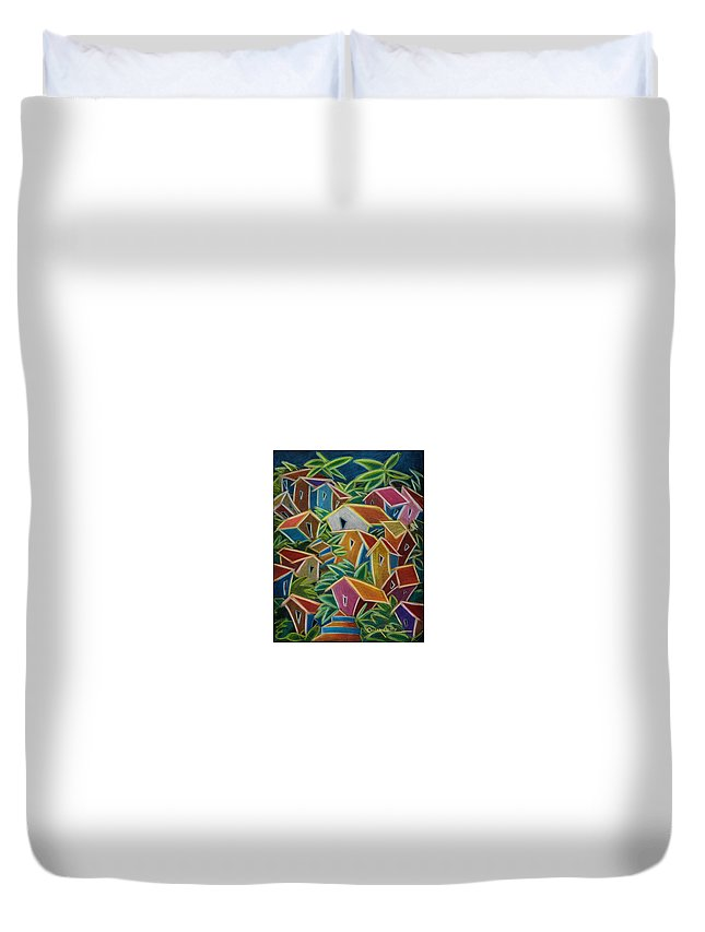 Landscape Duvet Cover featuring the painting Barrio Lindo by Oscar Ortiz