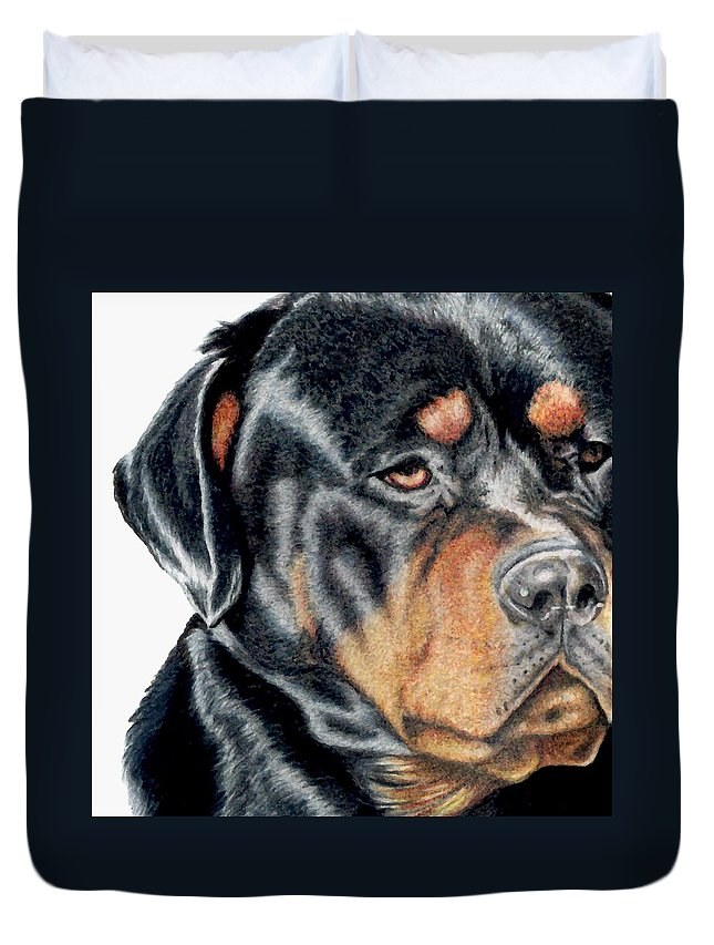 Rottweiler Duvet Cover featuring the drawing Bart Detail by Kristen Wesch