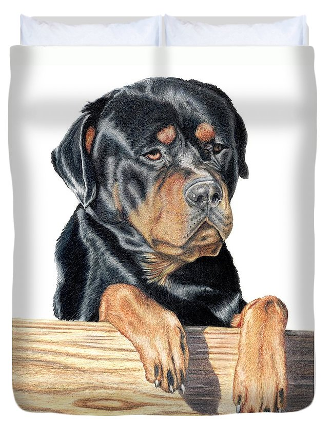 Dog Duvet Cover featuring the drawing Bart by Kristen Wesch