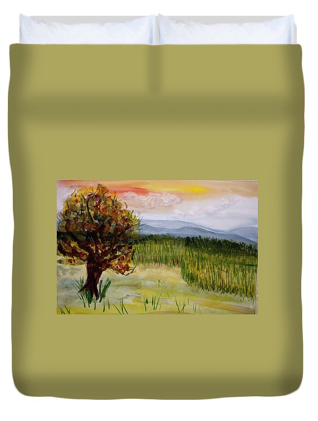 Barton Duvet Cover featuring the painting Barton Sunset by Donna Walsh
