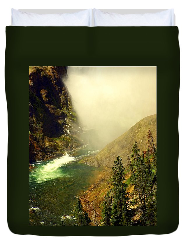 Yellowstone River Duvet Cover featuring the photograph Base Of The Falls 2 by Marty Koch