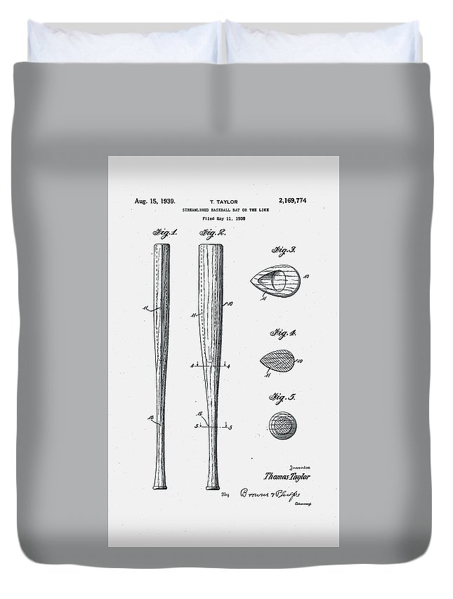 Baseball Duvet Cover featuring the digital art Baseball Bat Patent 1939 by Claire Doherty