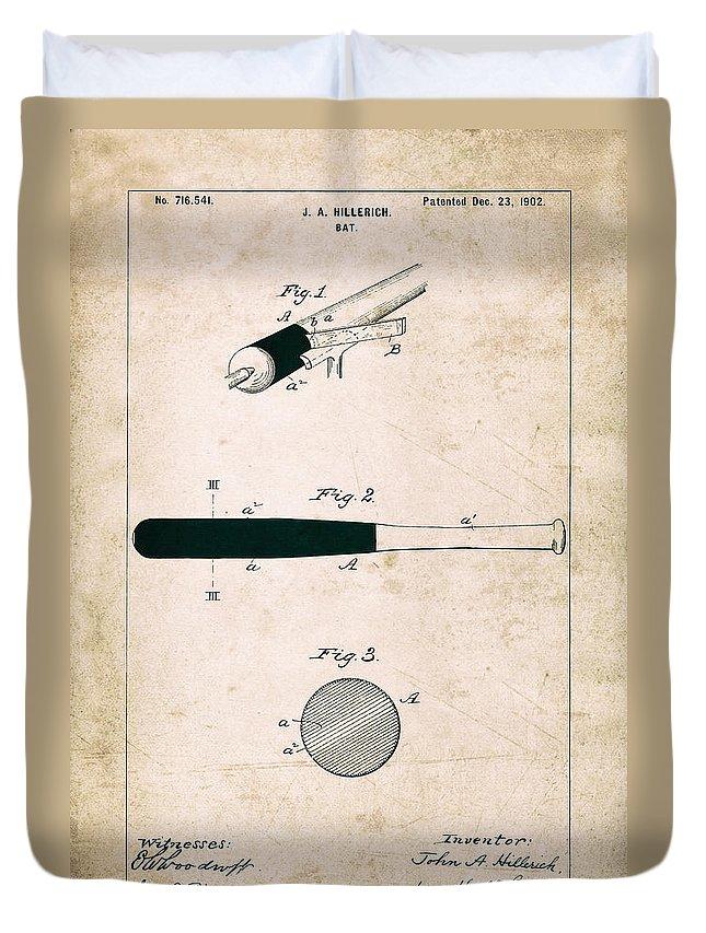 Baseball Bat Duvet Cover featuring the photograph Baseball Bat - Patent Drawing For The 1902 John Hillerich Basebal Bat by Jose Elias - Sofia Pereira