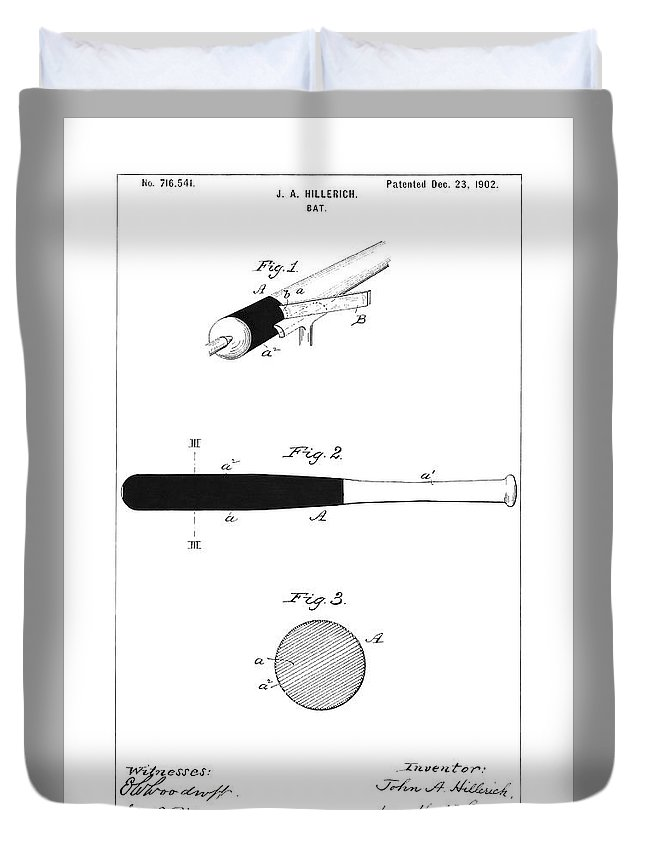 Baseball Bat Duvet Cover featuring the photograph Baseball Bat - Restored Patent Drawing For The 1902 John Hillerich Basebal Bat by Jose Elias - Sofia Pereira