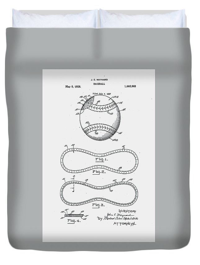 Baseball Duvet Cover featuring the digital art Baseball Patent 1928 by Claire Doherty