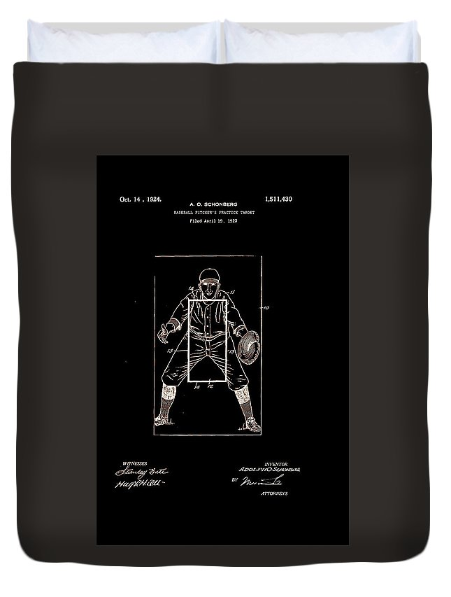 Baseball Duvet Cover featuring the digital art Baseball Pitcher's Practice Target Patent 1924 by Claire Doherty