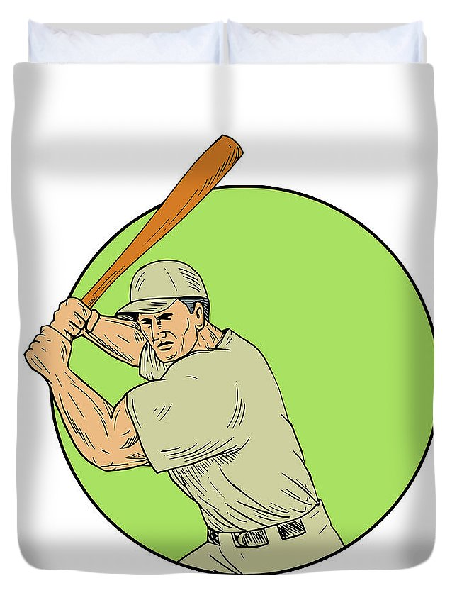 Drawing Duvet Cover featuring the digital art Baseball Player Batting Stance Circle Drawing by Aloysius Patrimonio