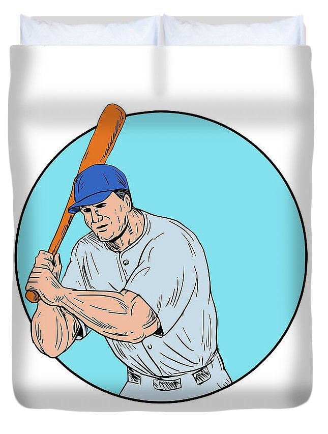 Drawing Duvet Cover featuring the digital art Baseball Player Holding Bat Drawing by Aloysius Patrimonio