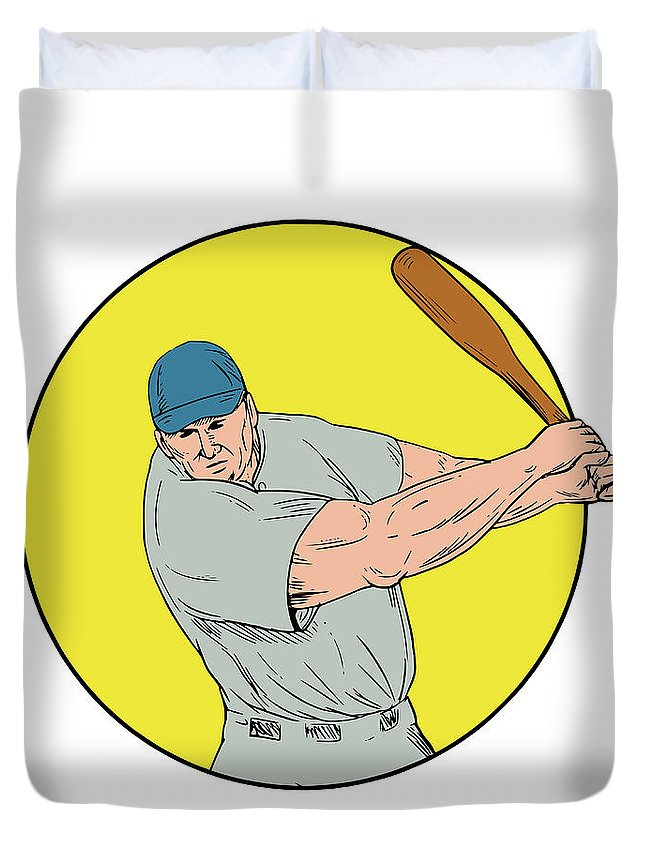 Drawing Duvet Cover featuring the digital art Baseball Player Swinging Bat Drawing by Aloysius Patrimonio