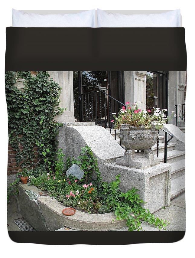 Garden Duvet Cover featuring the photograph Basement Entry Garden by Barbara McDevitt