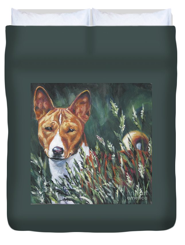 Basenji Duvet Cover featuring the painting Basenji In Grass by Lee Ann Shepard