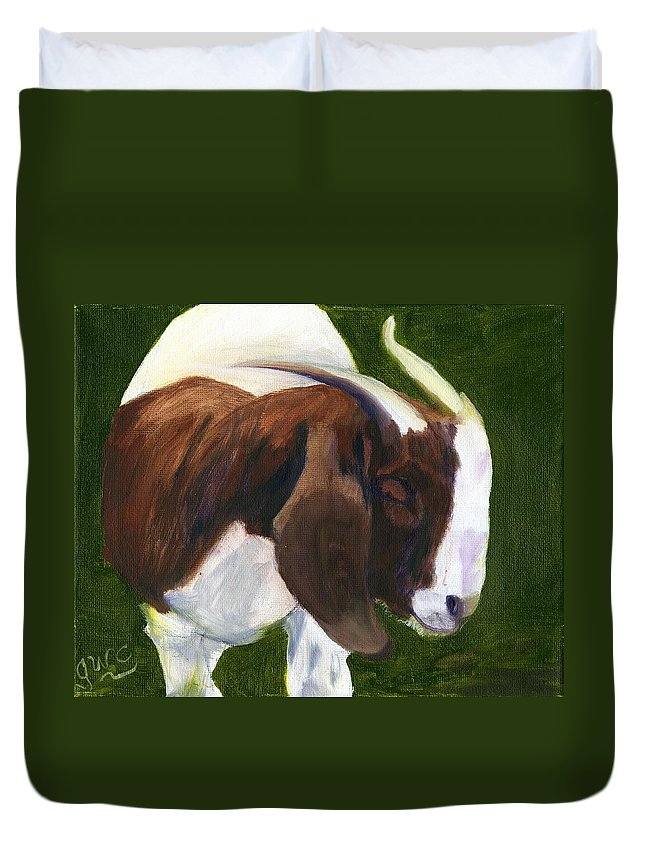 Goat Duvet Cover featuring the painting Bashful by Gloria Condon