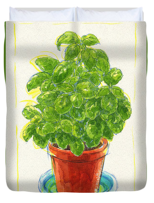 Plant Duvet Cover featuring the painting Basil by Judith Kunzle